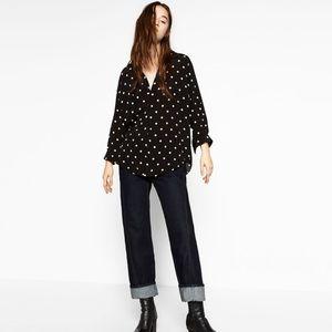 Zara black and white collared polka dot blouse